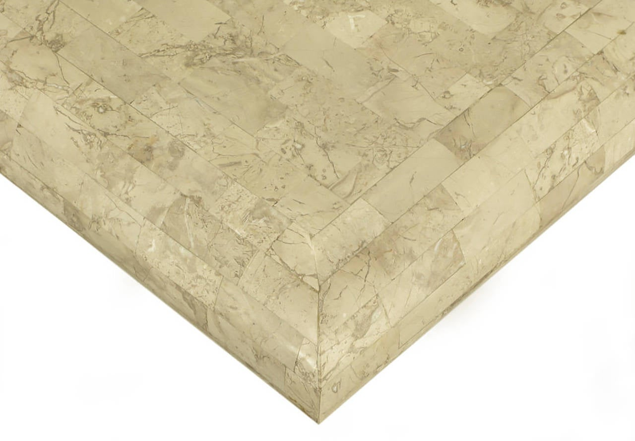 Taupe Tessellated Fossil Stone Pedestal Coffee Table For Sale 1
