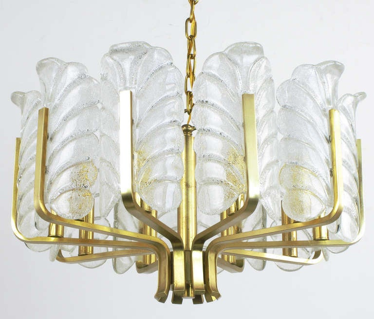 Art Deco Revival brushed brass ten-arm chandelier with acid etched Murano bubble glass acanthus leaf shades. Current drop is 28