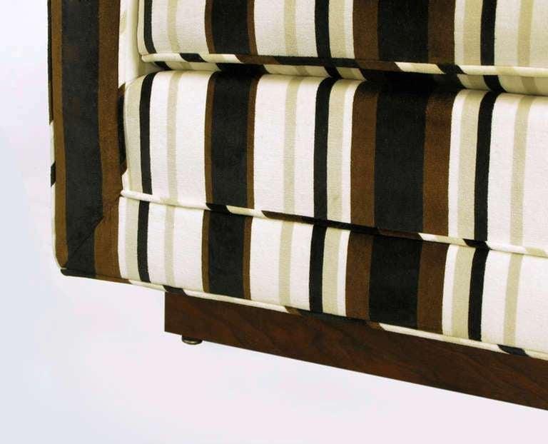 Marden Even-Arm Striped Velvet Tuxedo Sofa For Sale 1