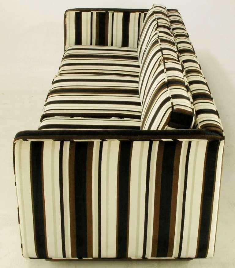 American Marden Even-Arm Striped Velvet Tuxedo Sofa For Sale