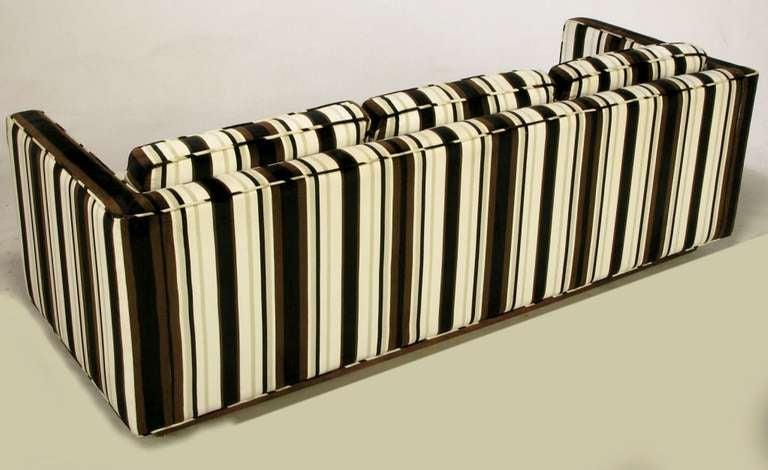 Late 20th Century Marden Even-Arm Striped Velvet Tuxedo Sofa For Sale