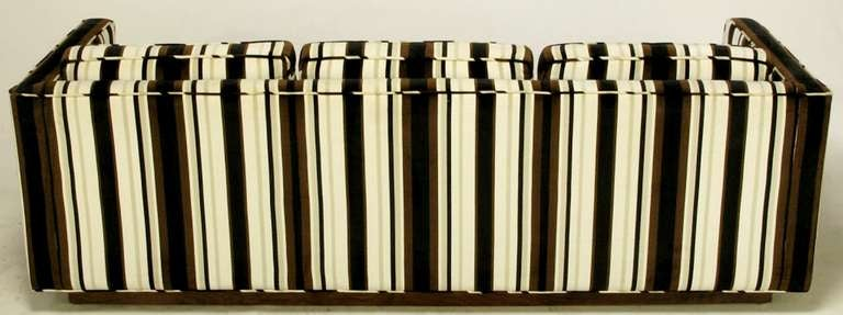 Marden Even-Arm Striped Velvet Tuxedo Sofa In Good Condition For Sale In Chicago, IL