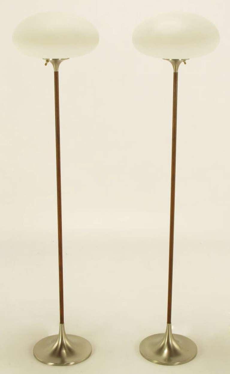 Pair Rare Rosewood Laurel Floor Lamps At 1stdibs