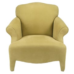 Neotraditional Fully Upholstered Camel Ultra Suede Lounge Chair