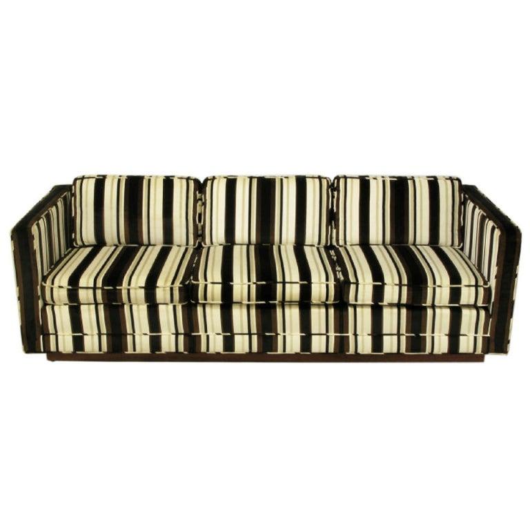 Marden Even-Arm Striped Velvet Tuxedo Sofa