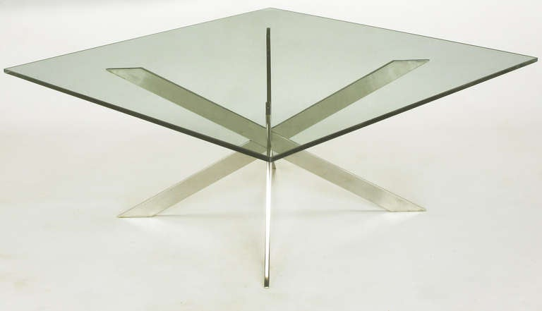 Glass Leon Rosen for Pace Collection Double X-Base Chrome Coffee Table For Sale
