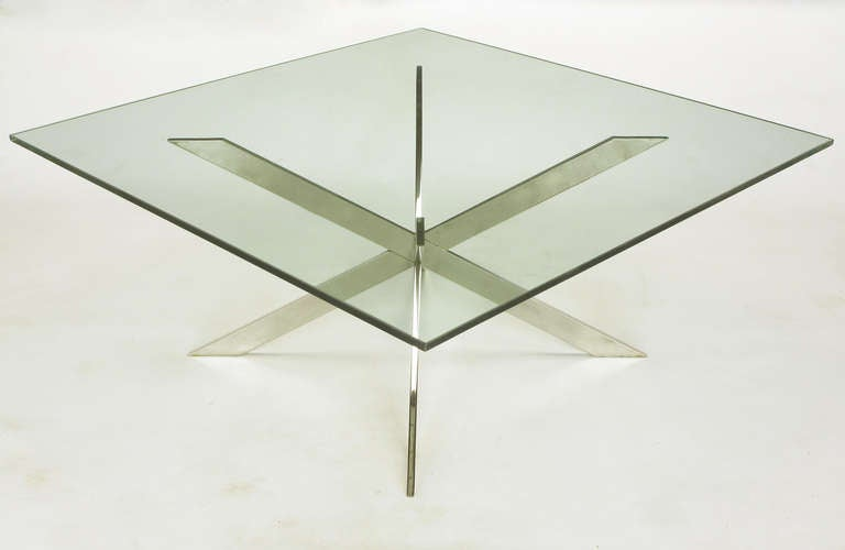 Leon Rosen for Pace Collection Double X-Base Chrome Coffee Table For Sale 1