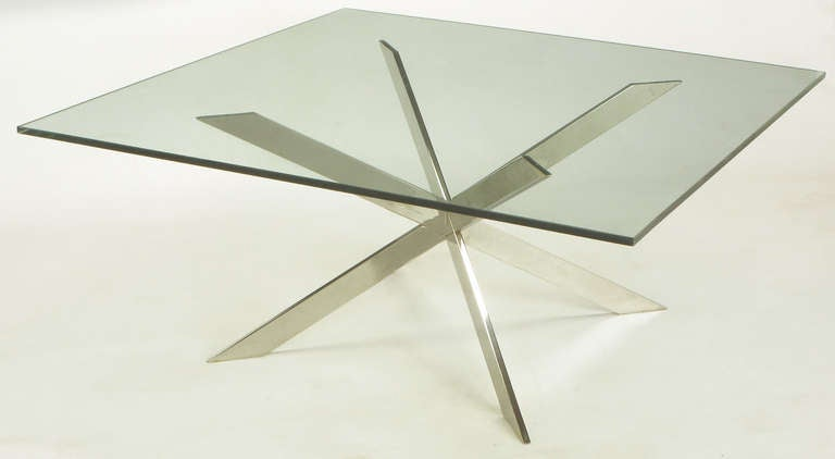 Leon Rosen for Pace Collection Double X-Base Chrome Coffee Table For Sale 2