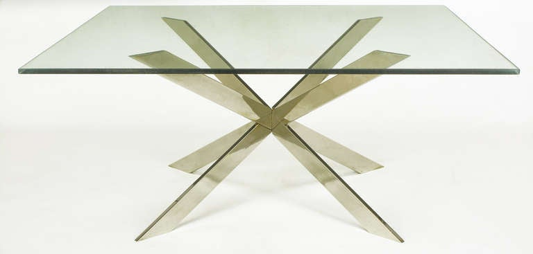 """Chromed brass coffee table by Leon Rosen for Pace Collection, comprised of intersecting X-forms and a 42"""" square glass top. Also shown with a 42"""" round top for comparison."""