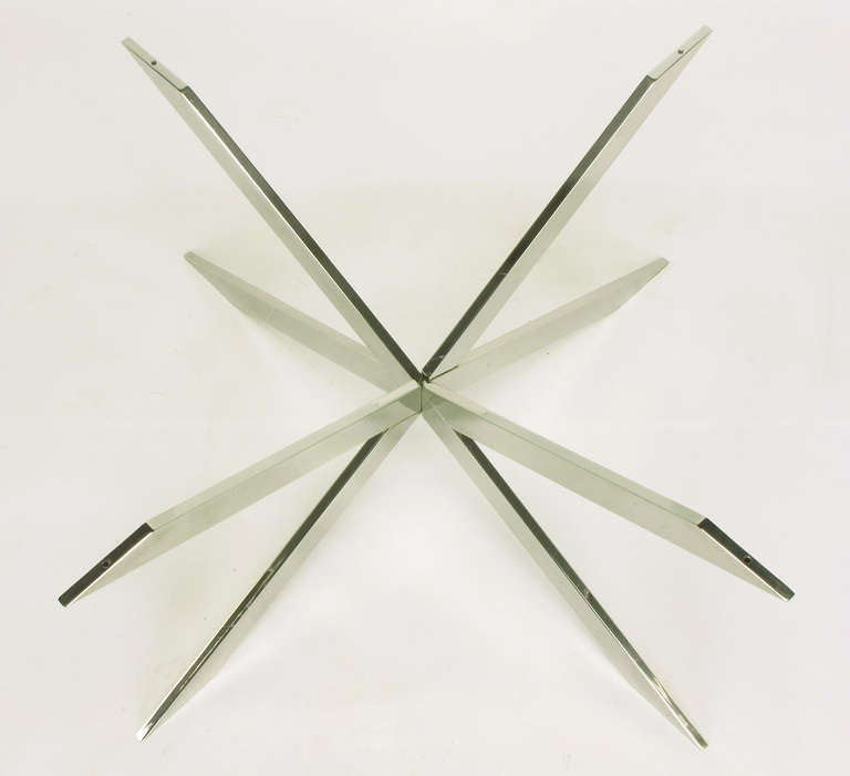 Leon Rosen for Pace Collection Double X-Base Chrome Coffee Table In Good Condition For Sale In Chicago, IL
