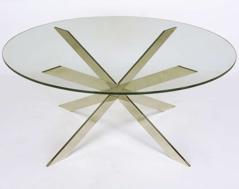 Leon Rosen for Pace Collection Double X-Base Chrome Coffee Table For Sale 4
