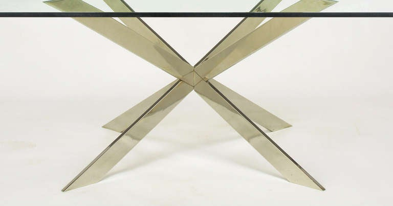 Late 20th Century Leon Rosen for Pace Collection Double X-Base Chrome Coffee Table For Sale