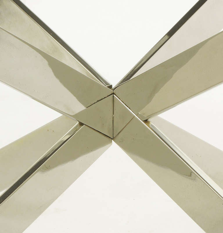Leon Rosen for Pace Collection Double X-Base Chrome Coffee Table 9