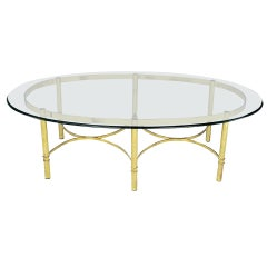 Brass Race Track Oval Coffee Table by Labarge