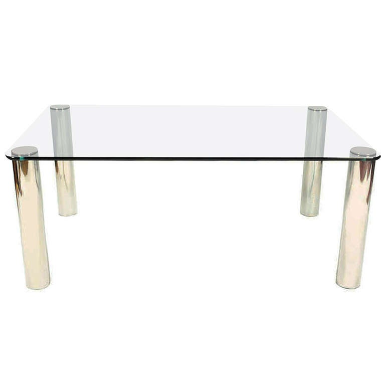 Pace Collection Gl Chrome Dining Table For