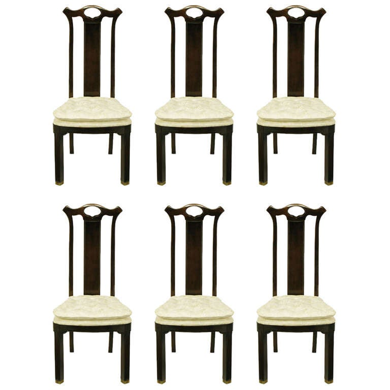 Six Teak Chinoiserie Dining Chairs by Hickory Furniture For Sale
