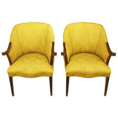 Pair of 1940s Mahogany and Gold Damask Regency Armchairs