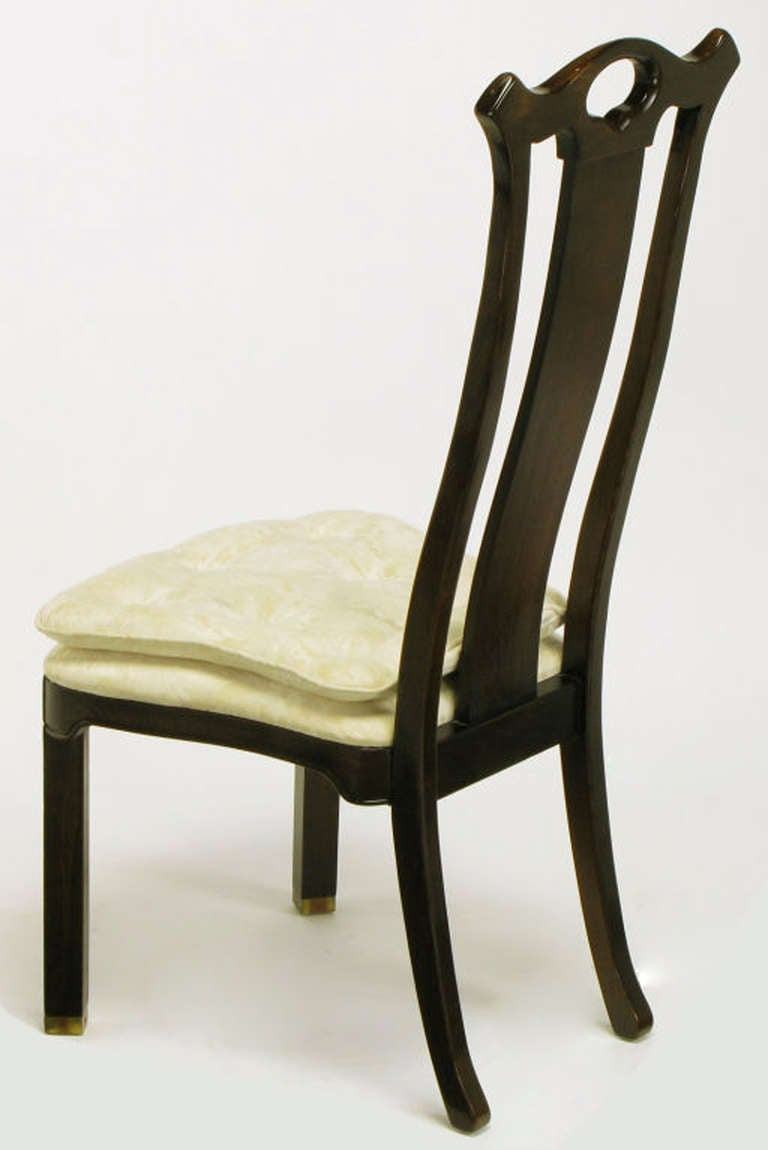 Six Teak Chinoiserie Dining Chairs by Hickory Furniture In Good Condition For Sale In Chicago, IL