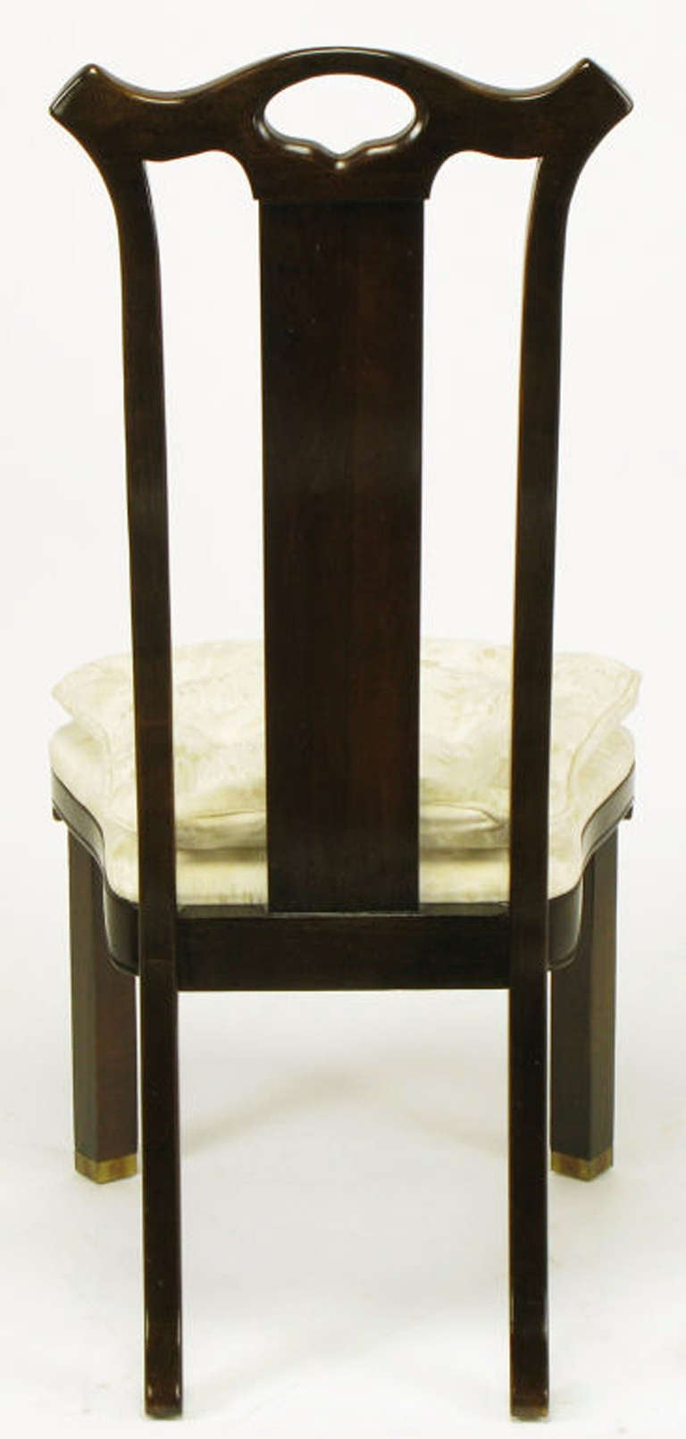 Late 20th Century Six Teak Chinoiserie Dining Chairs by Hickory Furniture For Sale
