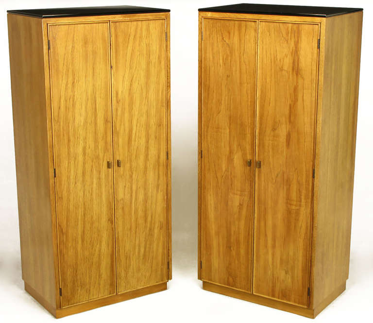 American Pair of Ash and Black Glass Narrow and Tall Cabinets For Sale