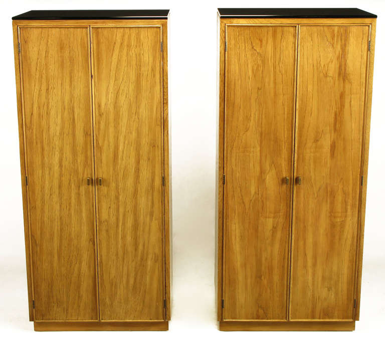 Pair Of Ash And Black Glass Narrow And Tall Cabinets For Sale At 1stdibs