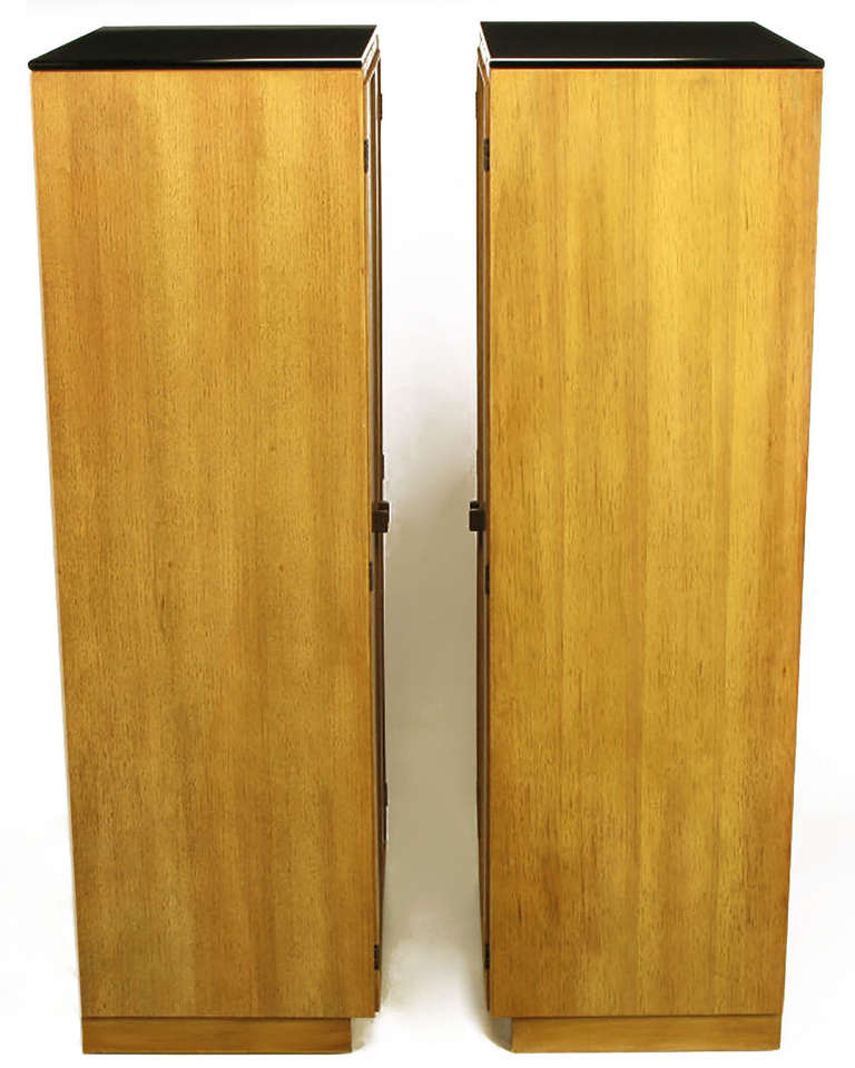 Pair of Ash and Black Glass Narrow and Tall Cabinets In Good Condition For Sale In Chicago, IL