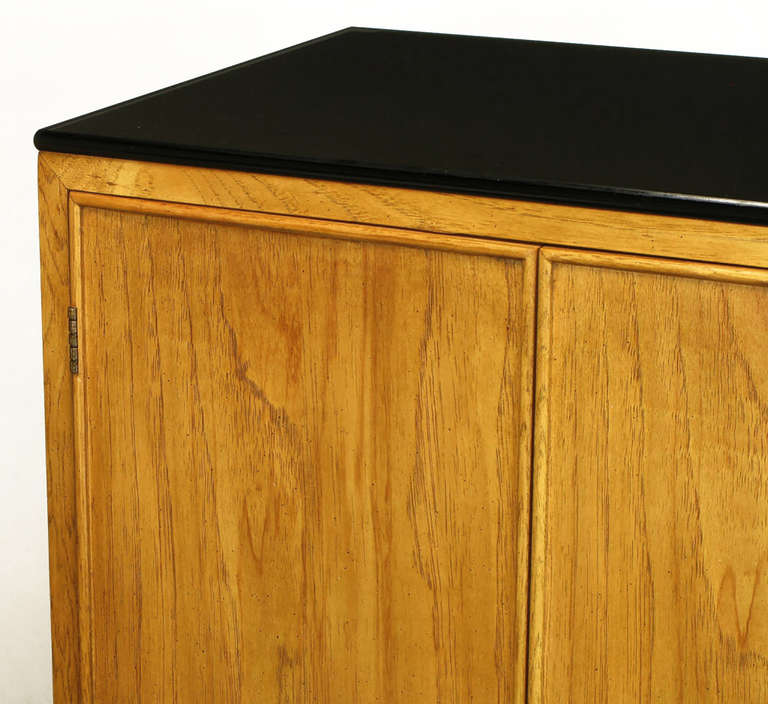 Pair of Ash and Black Glass Narrow and Tall Cabinets For Sale 1