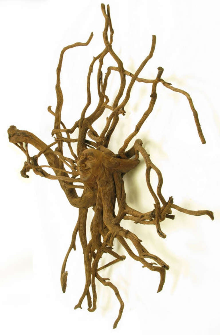 American Extraordinary Tall Outsider Art Carved Root Sculpture with Centre Visage For Sale