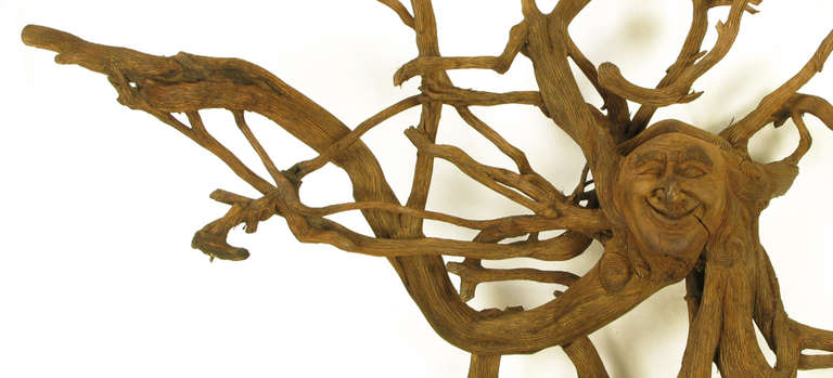 Extraordinary Tall Outsider Art Carved Root Sculpture with Centre Visage In Excellent Condition For Sale In Chicago, IL
