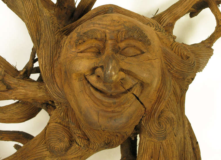 Wood Extraordinary Tall Outsider Art Carved Root Sculpture with Centre Visage For Sale