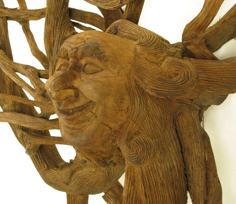 Extraordinary Tall Outsider Art Carved Root Sculpture with Centre Visage For Sale 1