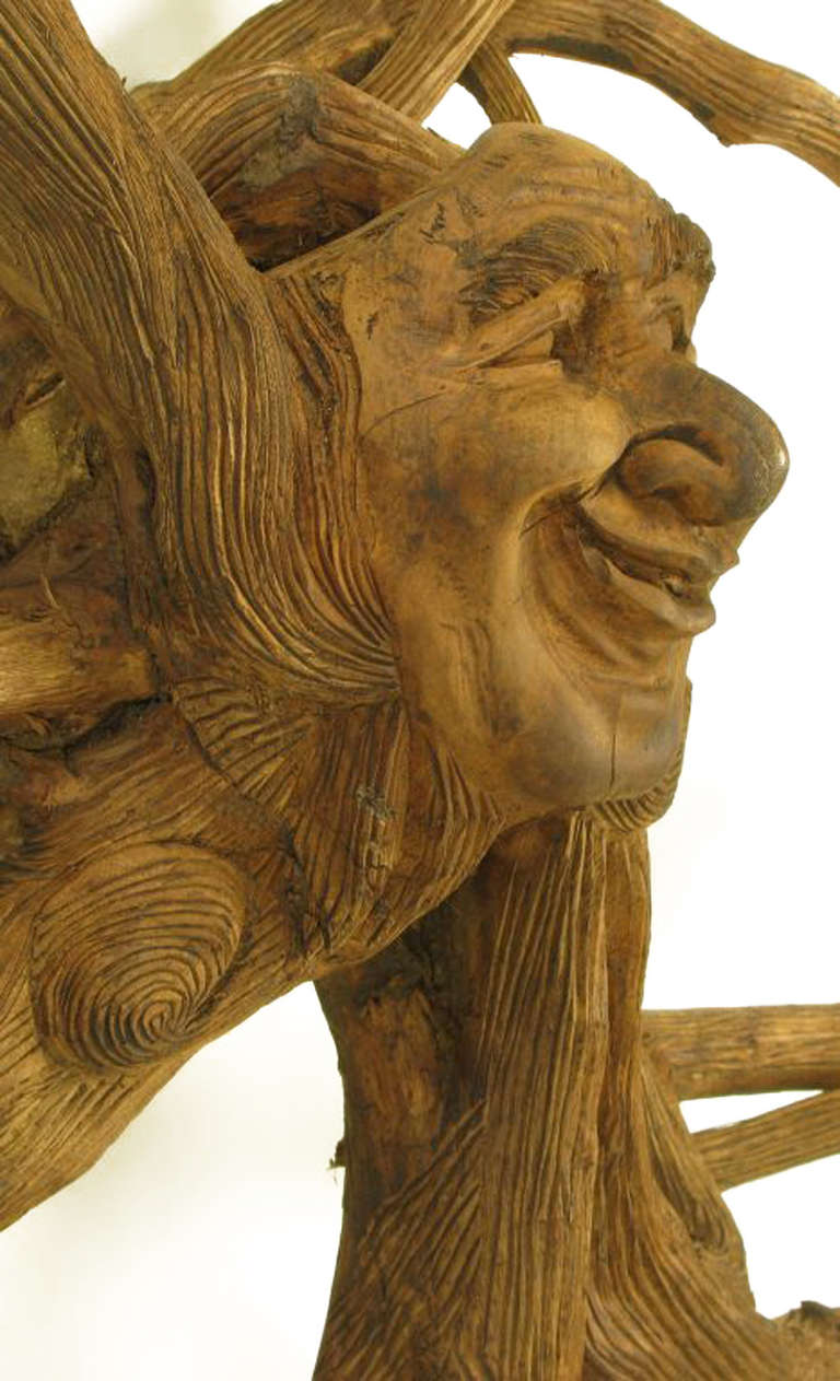 Extraordinary Tall Outsider Art Carved Root Sculpture with Centre Visage For Sale 2