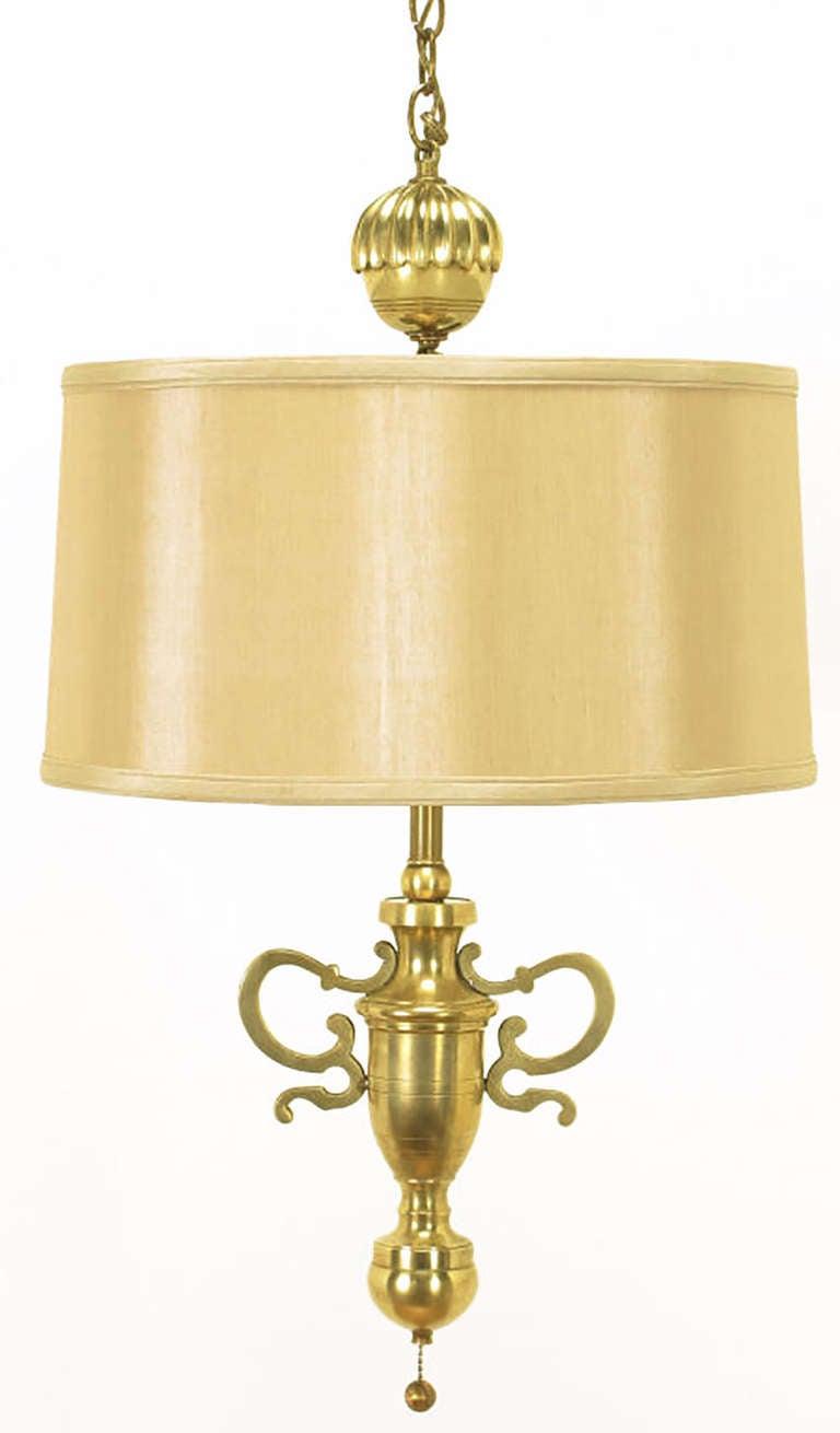Rare Marbro Brass Empire Style Pendant Lamp In Good Condition For Sale In Chicago, IL