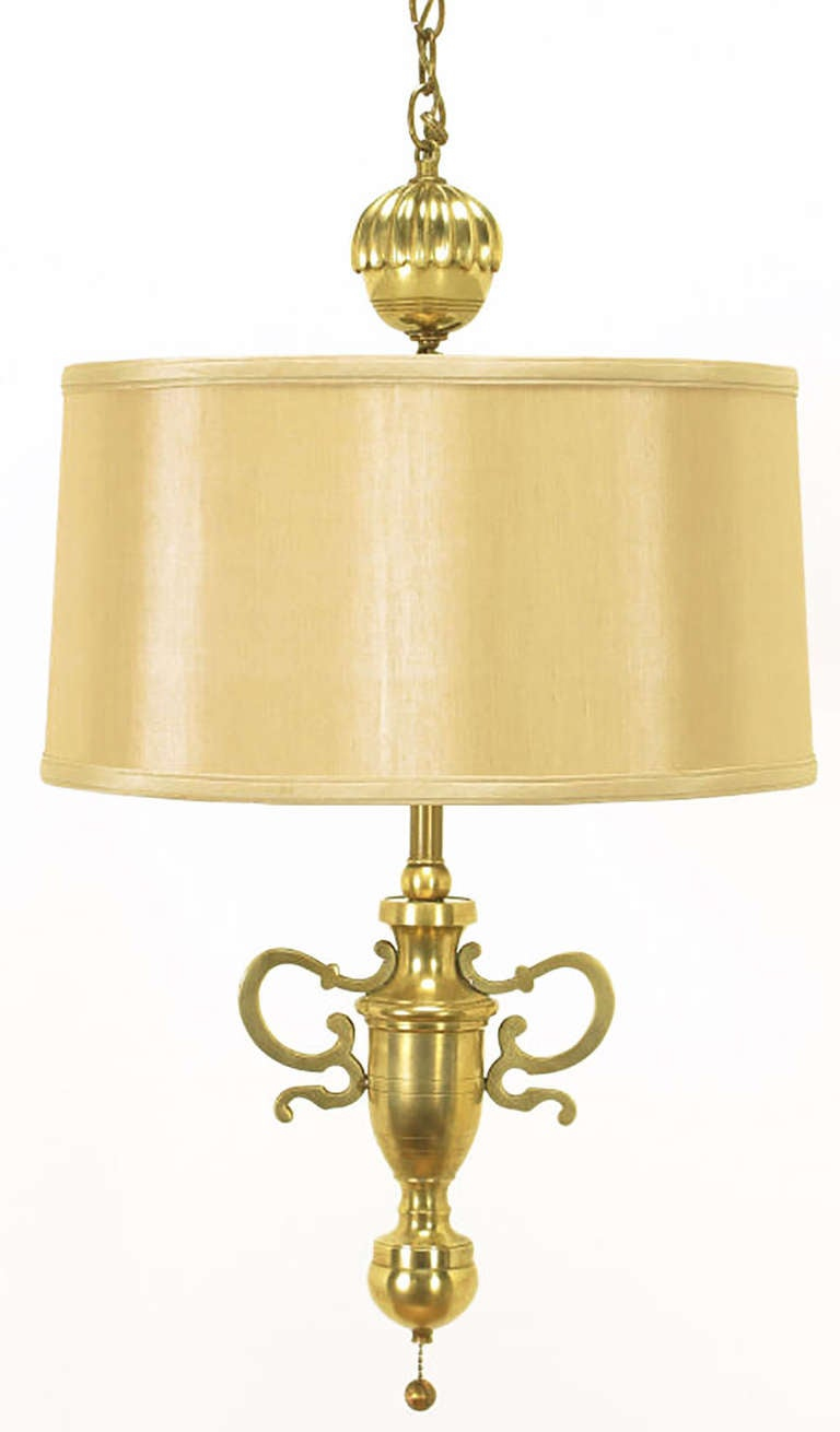 Rare and exceptional Marbro shaded Empire style hanging light. Solid brass body with solid brass filigreed Silhouette handles and large top finial. Double brass socket with brass ball pull chains. Could also be direct wired to use as a chandelier.