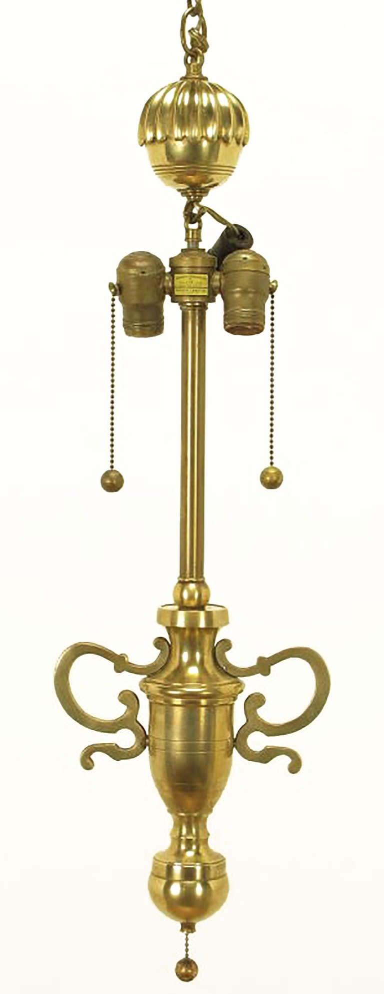 Rare Marbro Brass Empire Style Pendant Lamp For Sale 2