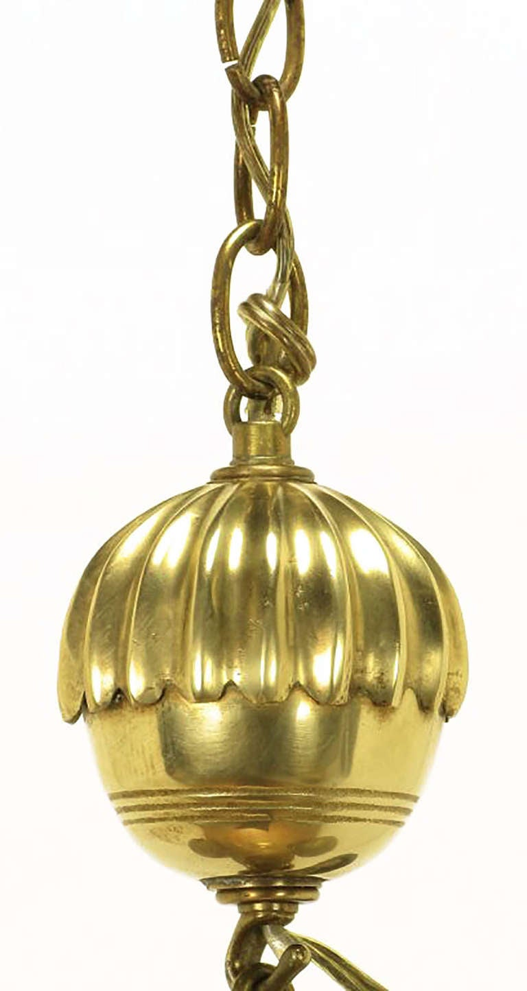 Rare Marbro Brass Empire Style Pendant Lamp For Sale 1