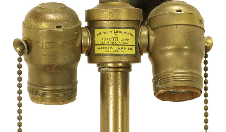Rare Marbro Brass Empire Style Pendant Lamp For Sale 3