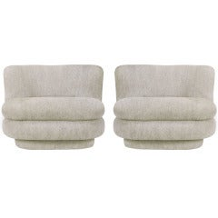 Pair of Art Deco Revival Dove Grey Chenille Slipper Chairs