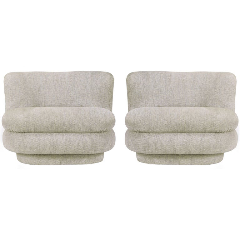 Pair of Art Deco Revival Dove Grey Chenille Slipper Chairs For Sale