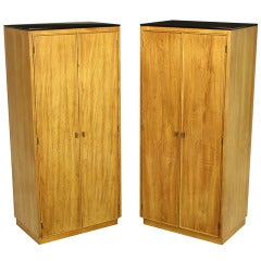 Pair of Ash and Black Glass Narrow and Tall Cabinets