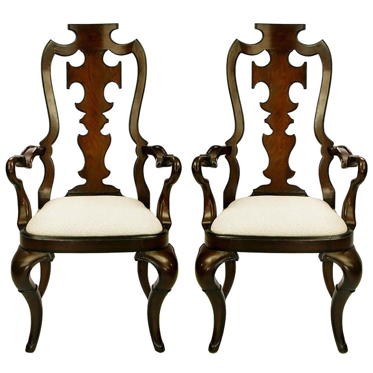 Pair of High Back Carved Walnut Gothic Style Armchairs