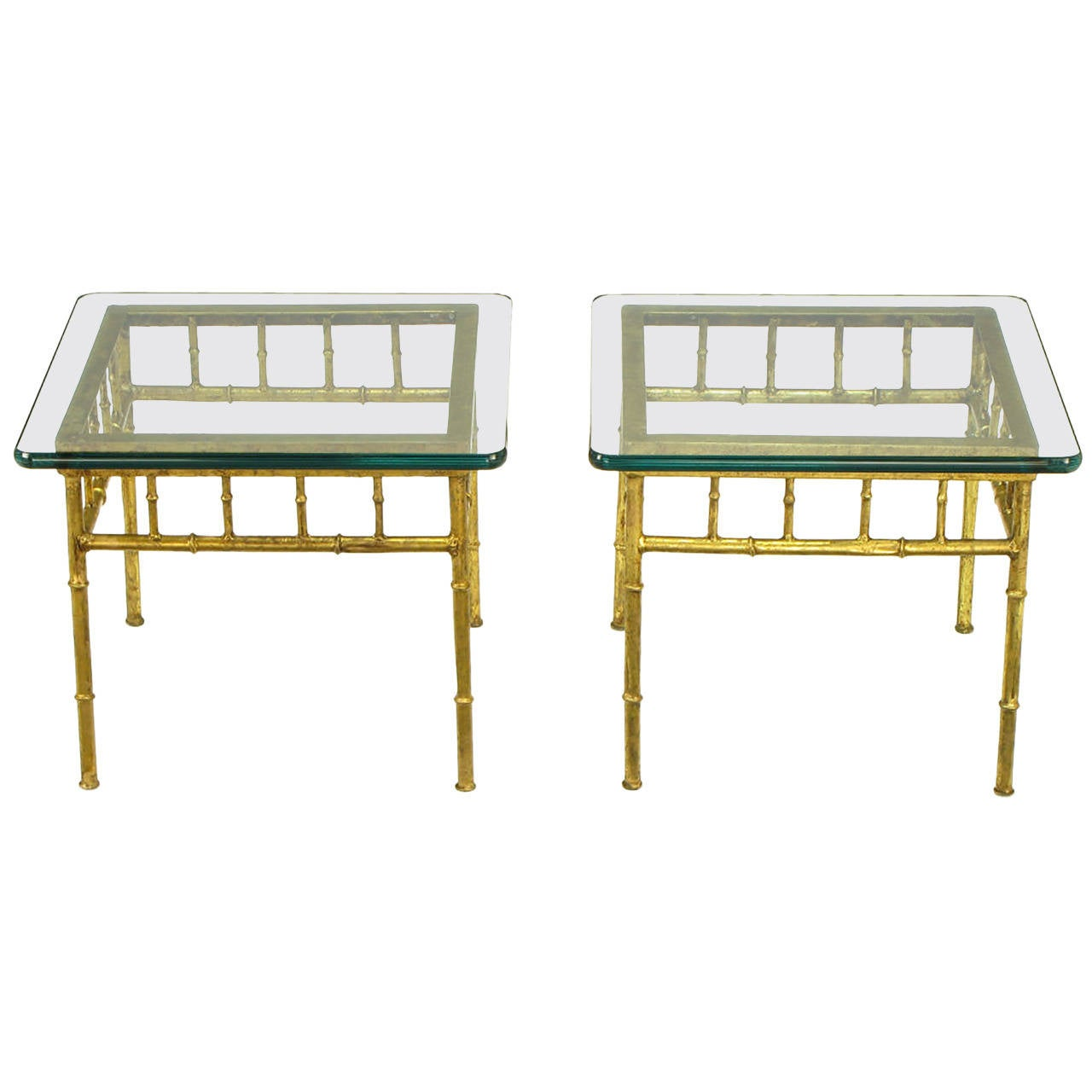 Pair of Glazed Gilt Metal Faux Bamboo End Tables