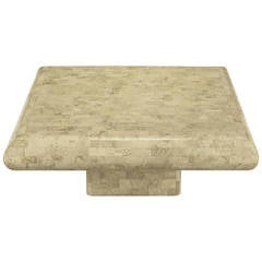 Taupe Tessellated Fossil Stone Pedestal Coffee Table