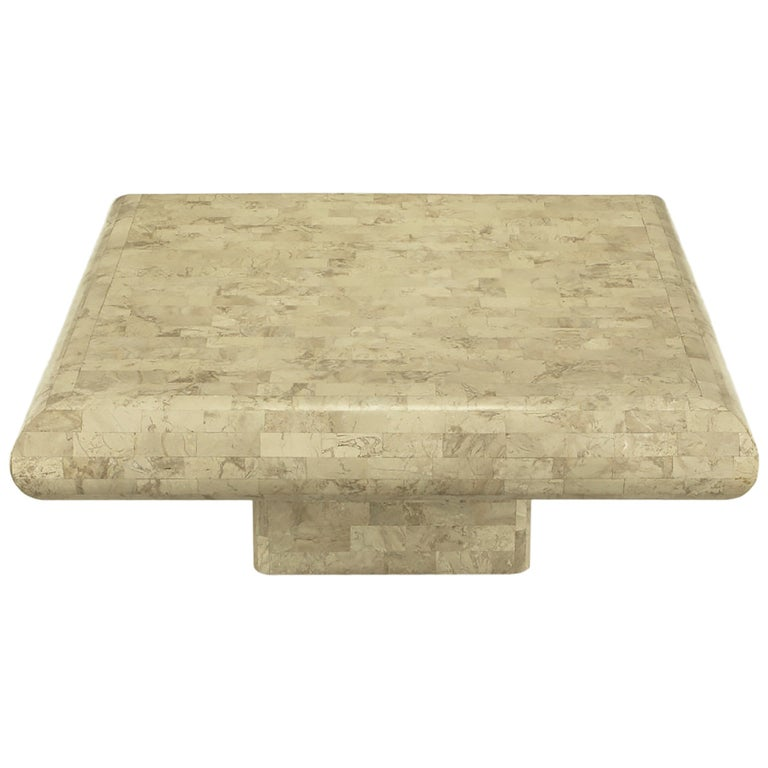 Taupe Tessellated Fossil Stone Pedestal Coffee Table For Sale