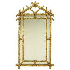 Gilt Black Forest Style Mirror with Segmented Frame