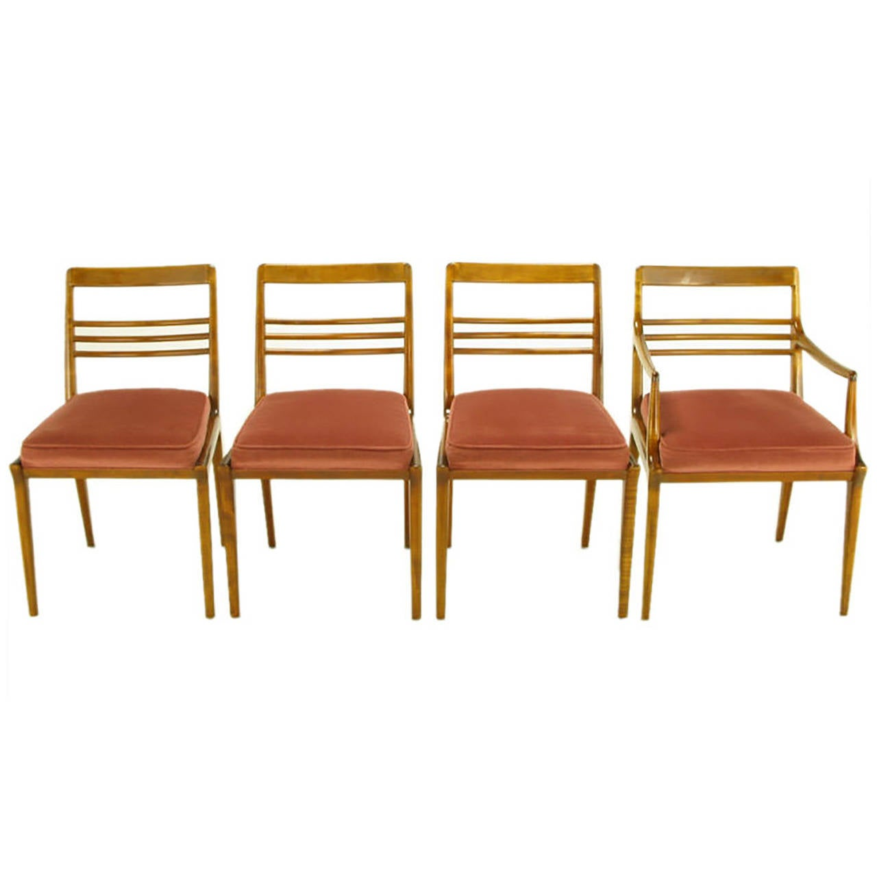 Four Renzo Rutili Walnut and Upholstered Dining Chairs For Sale