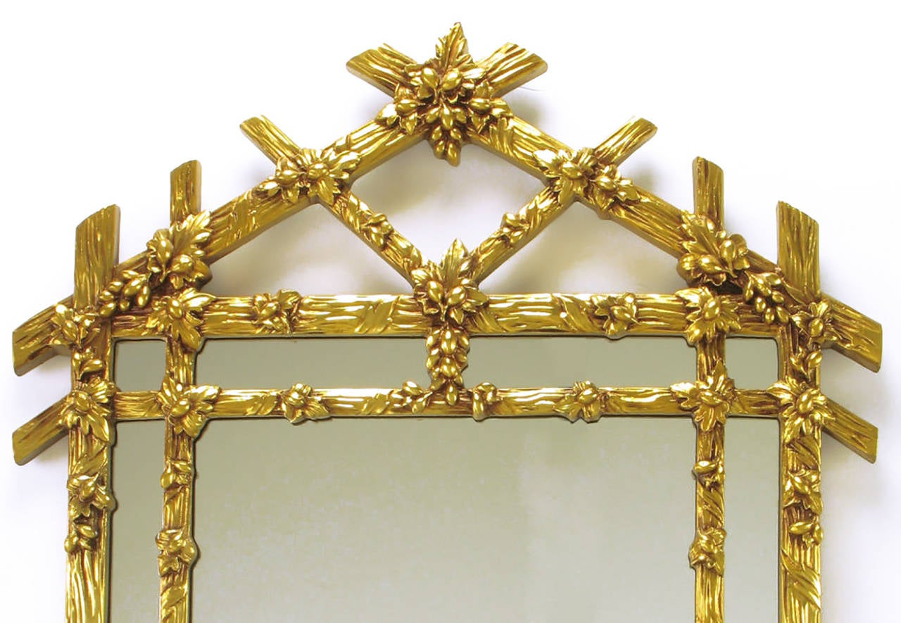 American Gilt Black Forest Style Mirror with Segmented Frame For Sale
