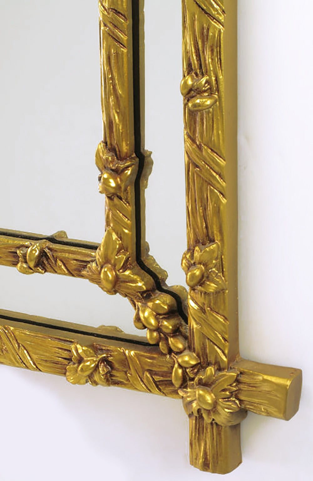Mid-20th Century Gilt Black Forest Style Mirror with Segmented Frame For Sale