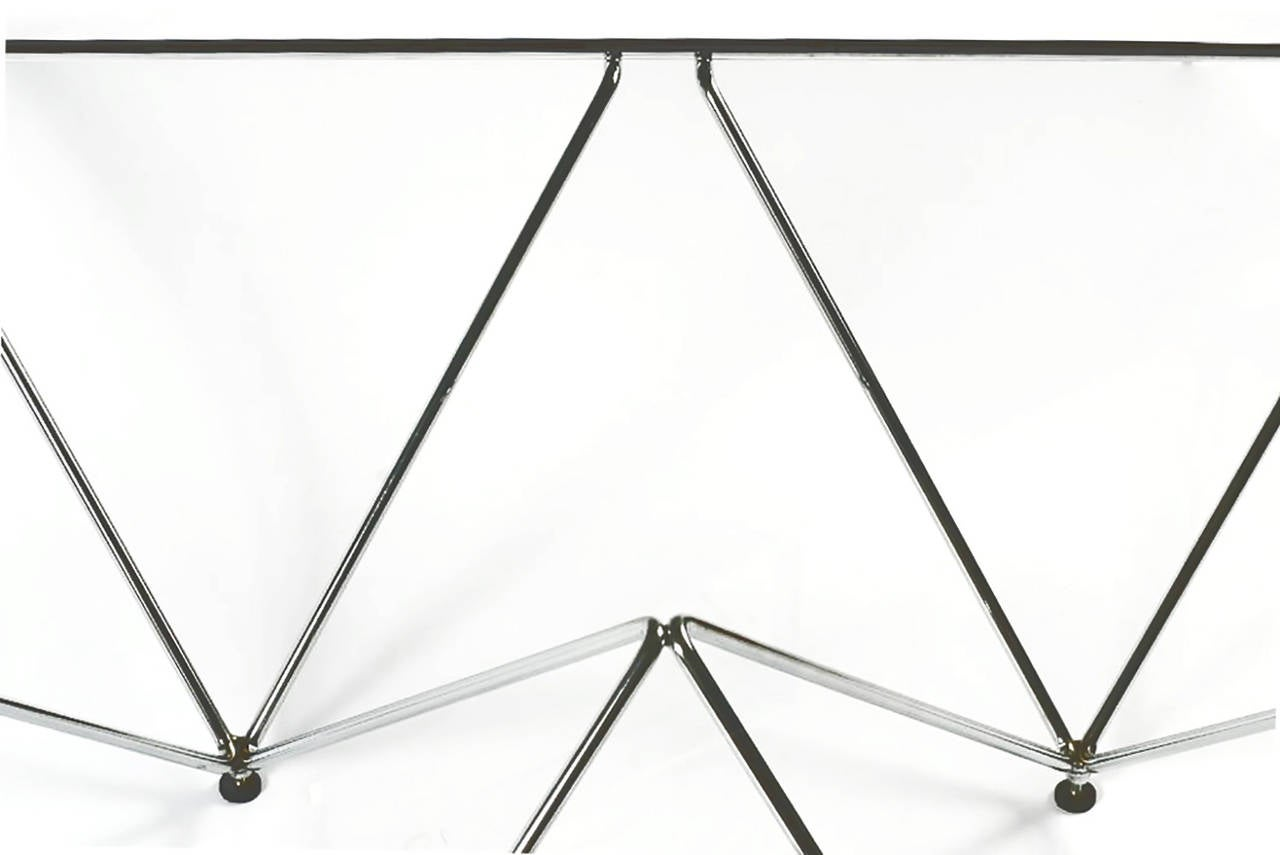 Late 20th Century Chromed Steel Pyramidal Base Coffee Table after Paolo Piva For Sale