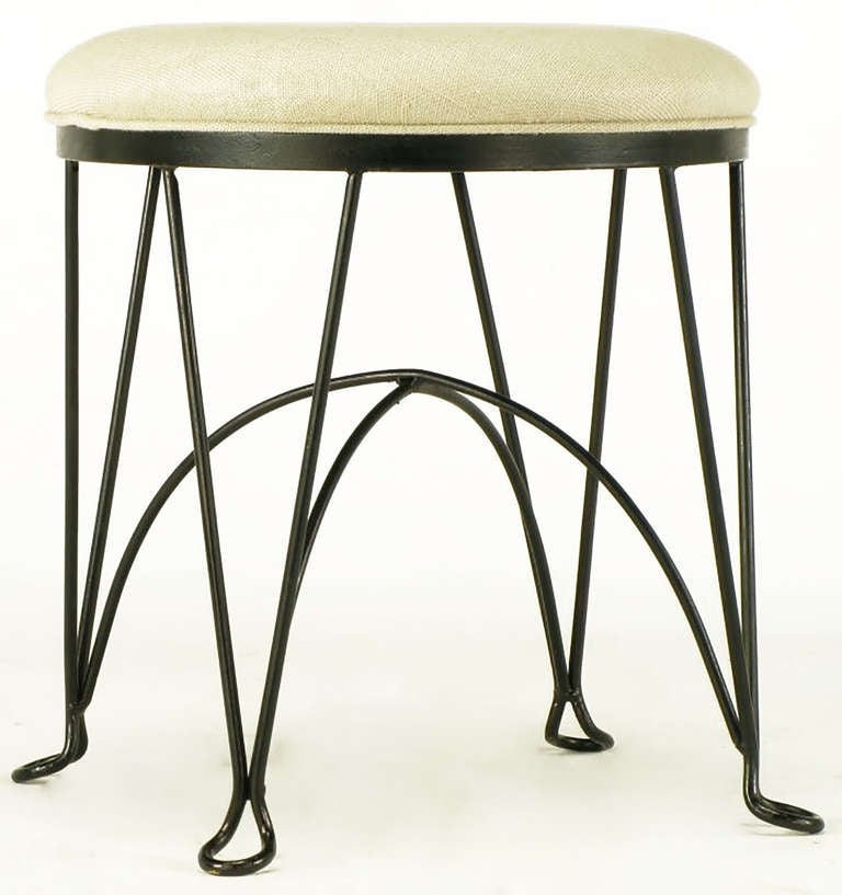 Pair of Round Wrought Iron and Linen Stools in the Style of Salterini In Excellent Condition For Sale In Chicago, IL